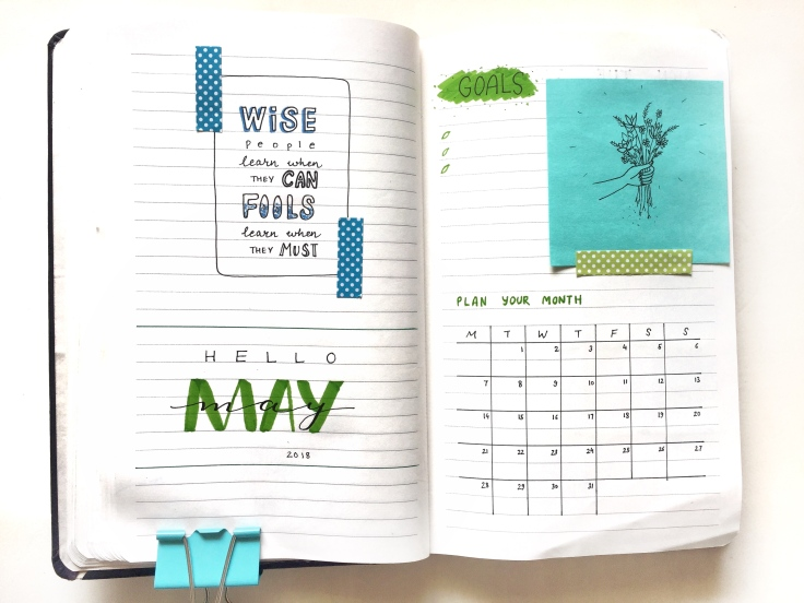 May 2018 Bullet Journal Planner Green Cool Theme monthly spread